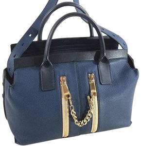 Chloé Tubular Handles Double Zip Pockets Protective Feet Golden Hardware Satchel in Blue