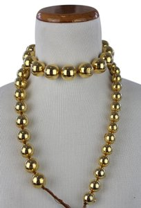 Chanel Chanel Graduating Goldtone Beaded Triple Strand Choker Necklace