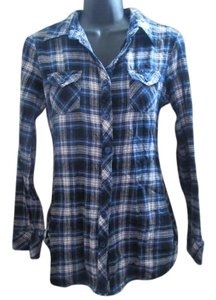 OP Plaid Flannel Casual Layered Button Down Shirt Blue & White