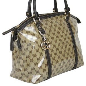 Gucci Crystal GG Bag Satchel in crystal gg canvas, leather, light gold tone hardware