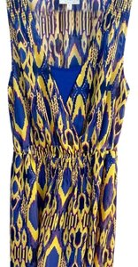 Navy, yellow & purple. Maxi Dress by Vera Wang