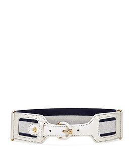 Tory Burch Navy and Ivory Web Elasticated and Leather Belt