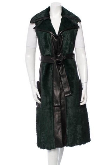 Item - Black/Teal Luxe and Leather Vest Coat Size 4 (S)