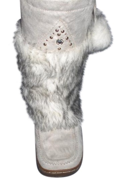 Item - White W Faux Suede Faux Calf Hair | Women's Boots/Booties Size US 10 Extra Wide (Ww, Ee)