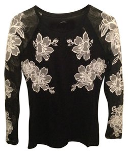 INC International Concepts Embroidered Top Black with White Flowers