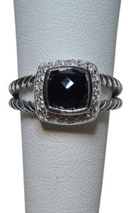 David Yurman 7mm petite Albion Ring w/ black onyx & Pave Diamonds size 6