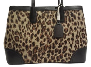 Ralph Lauren Leather Leopard Animal Print New Tote in brown, black, silver