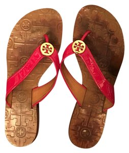 Tory Burch Between a Red and Bright pink Sandals