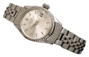 Rolex Vintage Rolex Date Lady Stainless Steel 18k White Gold Watch Silver Dial 6517