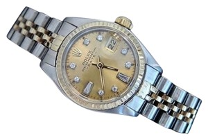 Rolex Ladies Rolex Two-tone 14k Goldstainless Steel Datejust Watch Champagne Diamond