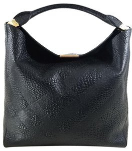 Burberry Embossed Leather Strap Lined Open Top Hobo Bag