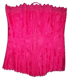 Frederick's of Hollywood Lace Up Hook And Eye Brocade Top Hot Pink