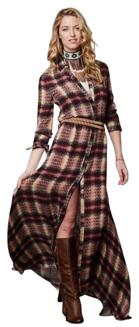 Item - Red Beige Multi Silk Button Down Tribal Chevron Plaid Print with Sleeves Long Casual Maxi Dress Size 4 (S)