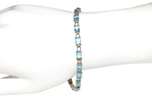 10K YELLOW GOLD AQUAMARINE BLUE BRACELET