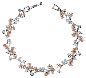 Other 18K Platium Plated CZ With champagne crystals Tennis Bracelet