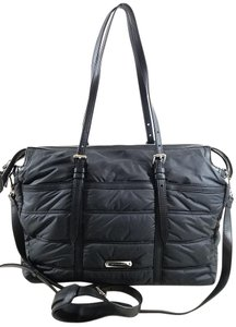 Burberry Quilted Strap In/outside Pockets Double Top Handles Black Diaper Bag
