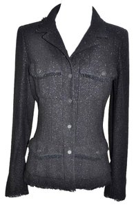Chanel Chanel CC Black and Silver Shimmer Wool Blend Skirt Suit Size 34