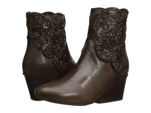 Sesto Meucci Italy Brown Pierced Leather Taupe Boots