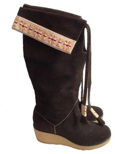 Marc Jacobs Mid Calf Suede Wedge Boots