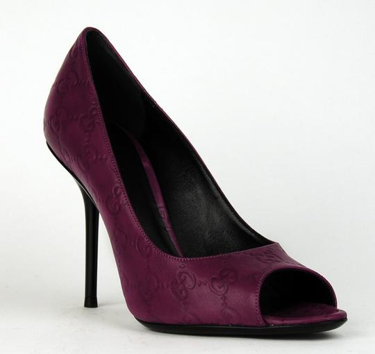 Gucci Gg Logo Heels Porpora Leather Purple Pumps