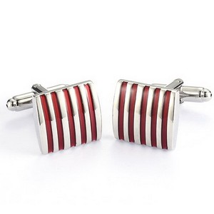 Silver Tone Cufflinks With Red Stripes