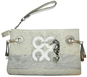 Coach Nautical Rare Embellished Audrey Resort Wristlet in Silver/Blue/Natural