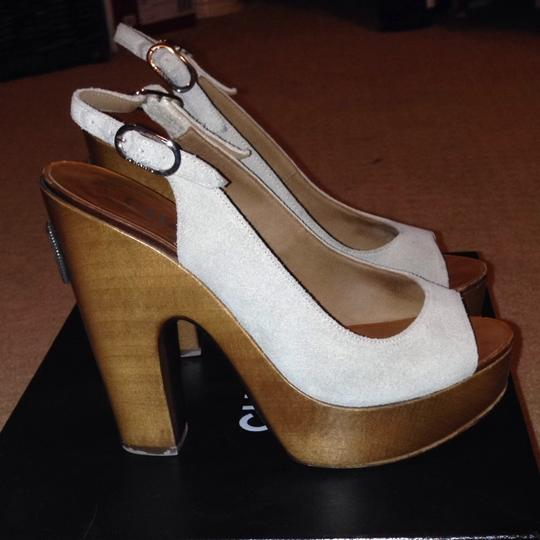 Chanel Taupe Grey Platforms