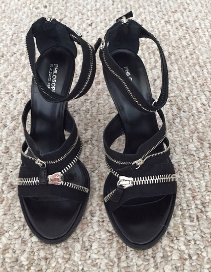 Philosophy di Alberta Ferretti Heel Leather Zippers Black Sandals