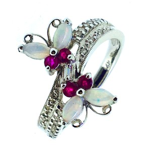 14k White Gold Ruby Opal Diamonds Ring