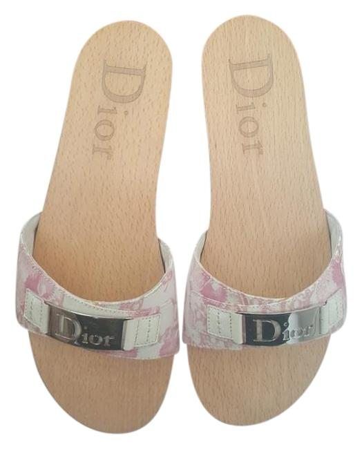 Item - Multi-color Pink/ White Logo Mules/Slides Size US 7 Regular (M, B)