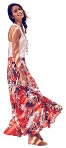 Anthropologie Silk Anthro Hd In Paris Paso Robles Maxi Skirt Red