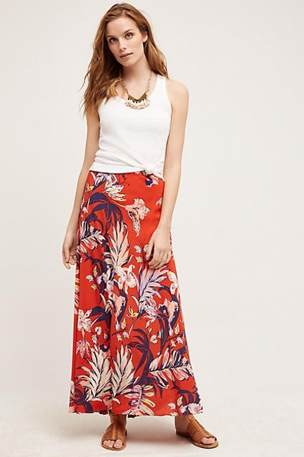 Anthropologie Silk Anthro Hd In Paris Paso Robles Maxi Skirt Red Image 1