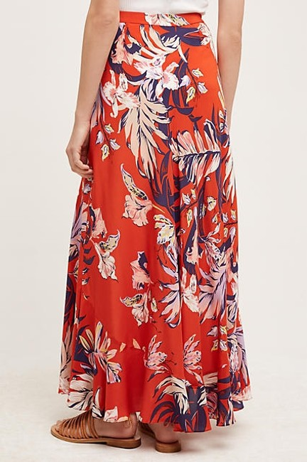 Anthropologie Silk Anthro Hd In Paris Paso Robles Maxi Skirt Red Image 2