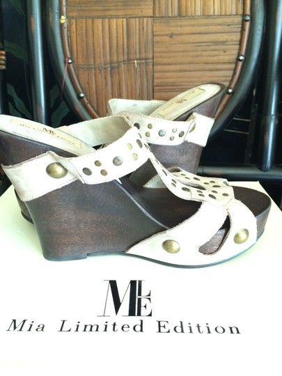 MIA Studded Leather Natural Mules Image 2