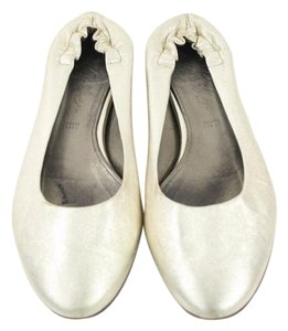 Judith Leiber Silver Leather Ballet Flats