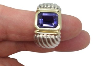 David Yurman size 6.5, sterling silver, 14k yellow gold, purple amethyst ring