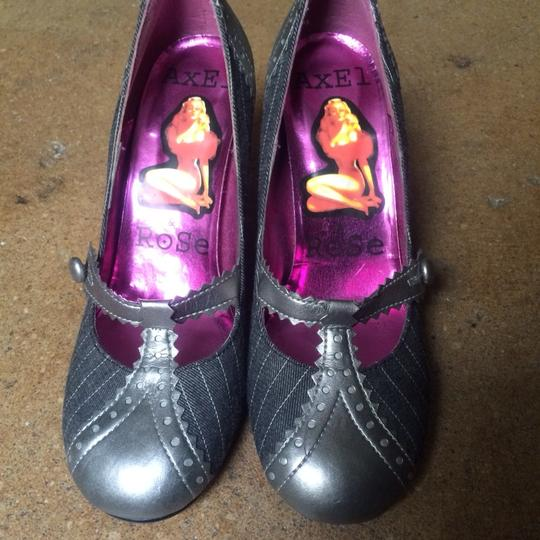 Axel & Rose Mary Jane T-strap Pinstripe Flannel Wingtip Gray Pumps Image 2