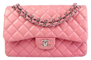 Chanel Lambskin Jumbo Double Flap Satchel in Pink