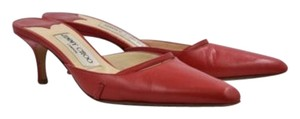 Jimmy Choo Womens Solid 355 Leather Pointed Toe Slim Red Mules