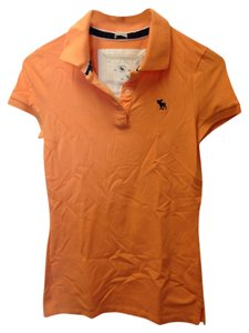 Abercrombie & Fitch Polo Button Logo T Shirt Orange
