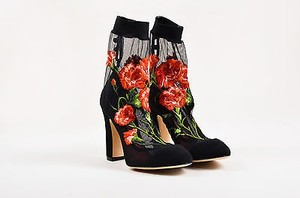 Dolce&Gabbana Dolce Gabbana Black Red Mesh Multi-Color Boots