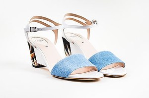 Fendi Blue White Black Denim Patent Leather Block Heel Multi-Color Sandals