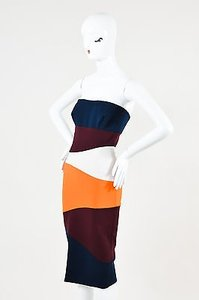 Victoria Beckham Navy Maroon Orange Colorblock Strapless Dress