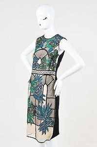 ERDEM Green Teal Black Embroidered Brenton Sleeveless Dress