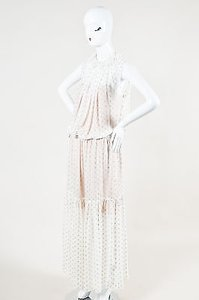 White Maxi Dress by Stella McCartney Gold Sheer Dotted Sleeveless