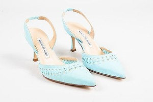 Manolo Blahnik Suede Nave Slingback Pointed Toe Heels Blue Pumps
