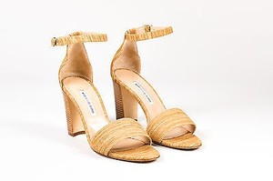 Manolo Blahnik Wood Effect Lauratopri High Heel Tan Sandals