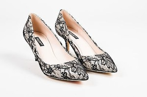 Dolce&Gabbana Nude Lace Overlay Pointed Toe Black Pumps