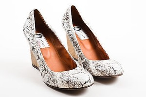 Lanvin Cream Black Snakeskin Wooden Wedge Heel Ballerina Pumps Gray Platforms