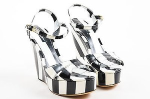 Dolce&Gabbana White Patent Leather Wedge Black Sandals